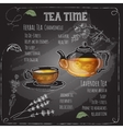 Herbal Tea Time card with cup teapot flowers vector image