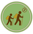 hiking tourists with compass icon vector image