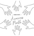 human rights day card of people hands together vector image vector image