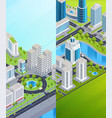 isometric city banners vector image vector image