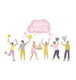 jumping people with presents balloons and bday vector image vector image