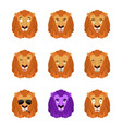 lion set emoji avatar sad and angry face guilty vector image