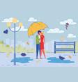 loving couple romantic date in rain in city park vector image