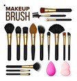 makeup brush set cosmetic beauty tools vector image