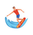 male surfer riding a wave water sport activity vector image