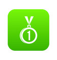medal for first place icon digital green vector image