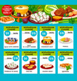 menu price cards of norwegian cuisine vector image vector image