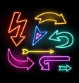 neon glowing arrow pointer set on dark background vector image vector image