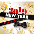 new year 2019 party promotional poster with spruce vector image