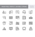 online education line icons vector image