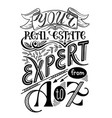 real estate agent poster vintage style hand vector image vector image