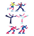 set figure and speed ice skating sports and vector image vector image