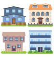set of four private houses on a white background vector image vector image
