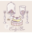 Set of hand drawn candy bar objects Bakery goods vector image vector image