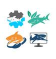 shark gear leaf hand monitor logo design set vector image vector image