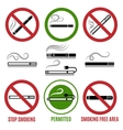 Sign of cigarette and no smoking sign vector image vector image