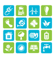 Silhouette Ecology and environment icons vector image vector image
