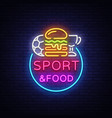 sport food neon sign sports food logo in vector image vector image