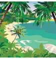 Summer Beach with lounge chairs vector image vector image