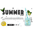 summer cocktail banner tropical mint fresh drink vector image