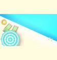 sun loungers swimming ring under umbrella at edge vector image