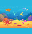 underwater life aquarium cartoon fish ocean and vector image