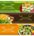 Vegetarian Food Horizontal Banners Set vector image vector image
