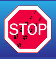 webstop sign on with dog tracks vector image vector image