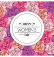 womens day circle emblem with roses vector image vector image