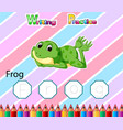 worksheet writing practice alphabet f for frog vector image vector image
