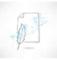 feather and paper grunge icon vector image