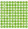 100 exotic animals icons hexagon green vector image vector image