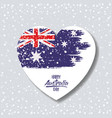 australian flag on heart in light background with vector image vector image