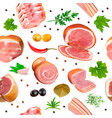 background seamless with meat products ham bacon vector image vector image