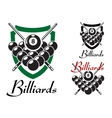 Billiards and snooker retro emblems set vector image vector image