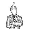 businessman obscene gesture finger head sketch vector image vector image
