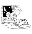 cartoon banot sleeping at night and mother vector image