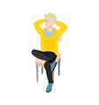 cartoon man sitting at chair resting vector image vector image