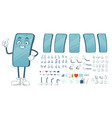 cartoon smartphone mascot funny mobile phone vector image