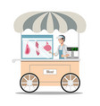 cartoon street fresh meat store vector image