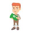 caucasian boy holding money in hands vector image vector image