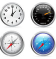 clock speedometer and compass set vector image vector image