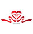 coronavirus poster red ribbon on white background vector image