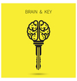 Creative brain sign with key symbol vector image vector image