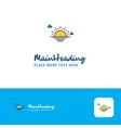 creative sunset logo design flat color logo place vector image