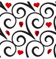 curly or swirly background with 3d hearts vector image vector image
