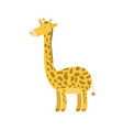 cute cartoon orange long neck smiling giraffe vector image vector image