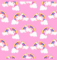 cute unicorns and rainbows pink seamless pattern vector image vector image