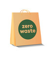 eco shopping paper bag with zero waste symbol vector image