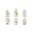 exotic birds in iron cages collection cute vector image vector image